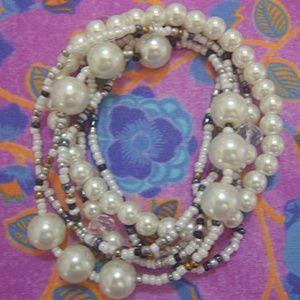 White Beaded Stretch Bracelet Set w/ Earrings